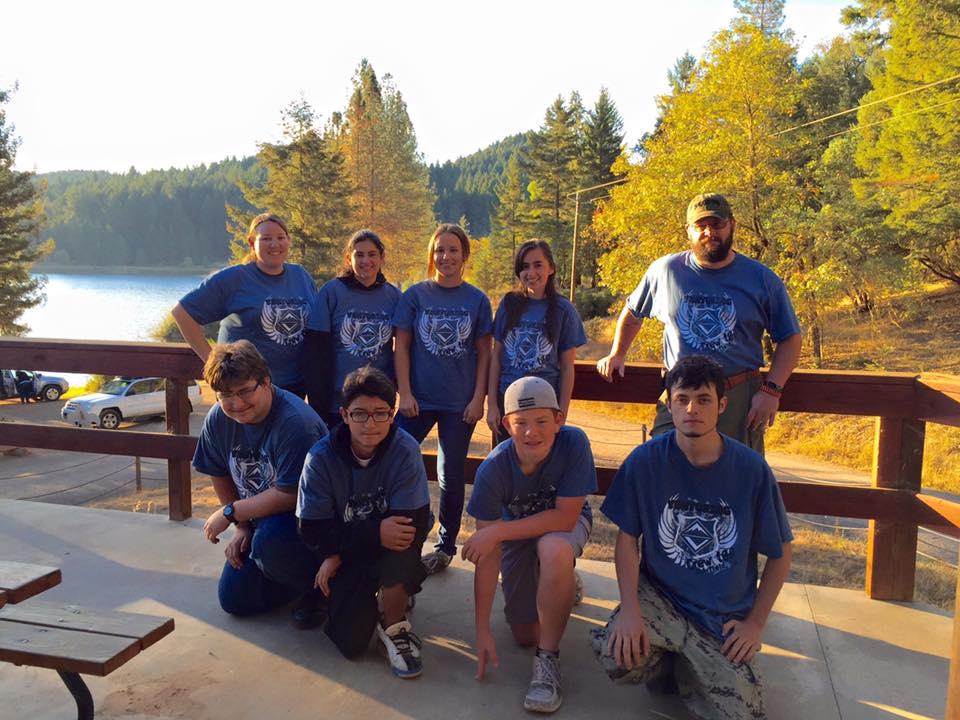 Venture Crew 100 from Fairfield California is pictured wearing indigo blue Class B uniforms at the Northern California Venturing Rendezvous