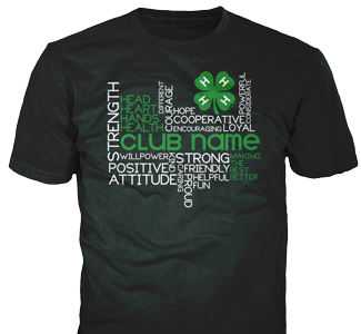 4-H Club stock design SP2714 on black t-shirts