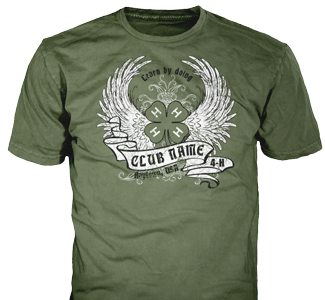 4-H Club stock design SP5195 on olive green t-shirts