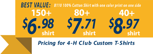 Custom t-shirts for 4-H Clubs banner showing t-shirts as low as 6.98