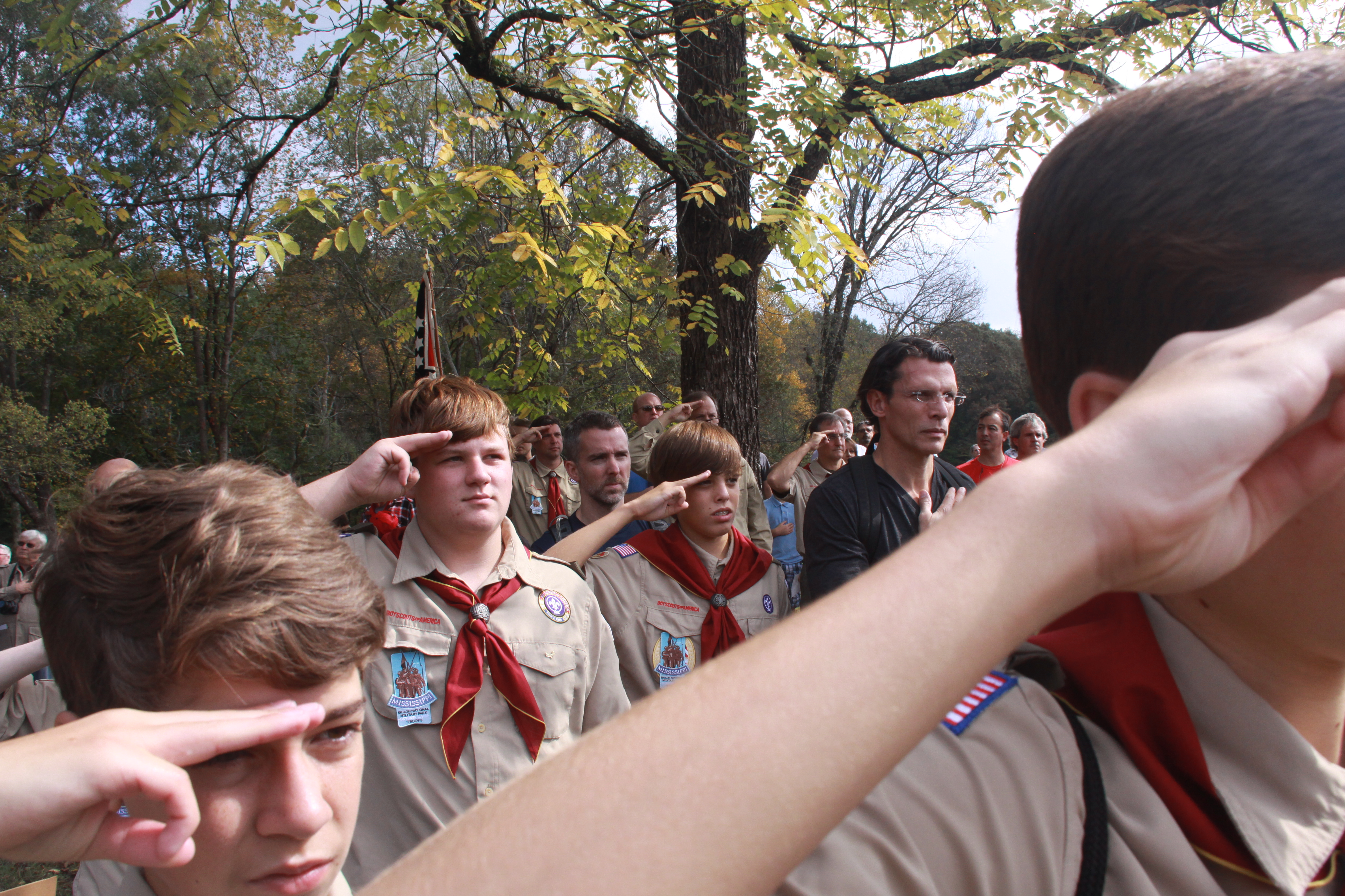 The Boys In Boy Scout Troop 8 Proudly Wearing The Patches On Their Uniforms