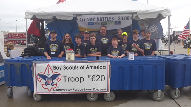 Troop 620 Standing In Their Booth At The Rockford Air Show