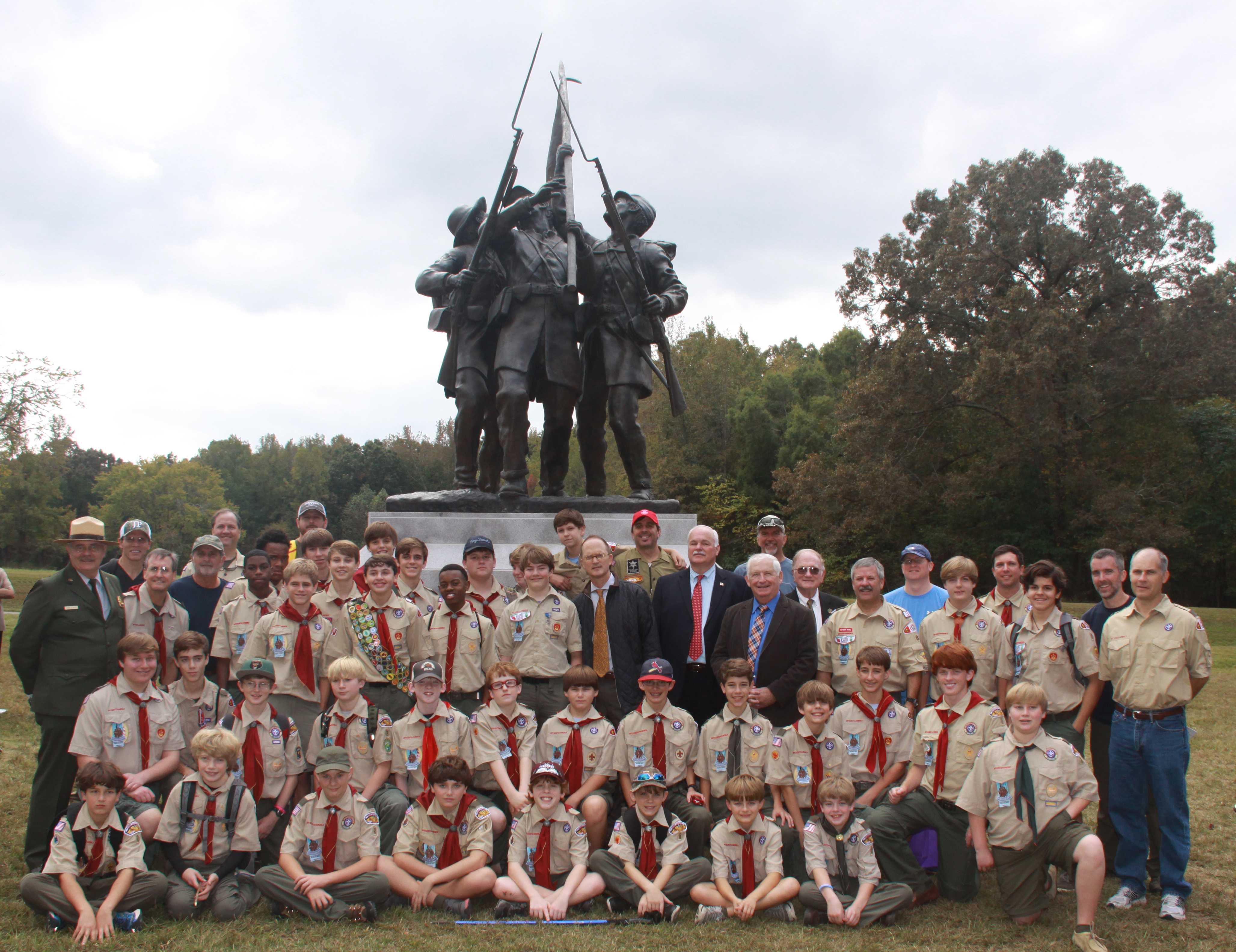 Troop 8 In Jackson MI Posing With The Mississippi Monument In Rhea Field At Shiloh National Military Park