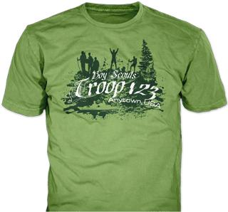 Boy Scout Troop t-shirt design idea SP1471 on pistachio t-shirts