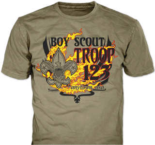 Boy Scout Troop t-shirt design idea SP2149 on prairie dust t-shirts