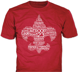 Boy Scout Troop t-shirt design idea SP4354 on red t-shirts