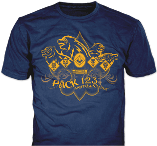 Cub Scout Pack t-shirt design idea SP4300 on Navy blue t-shirts