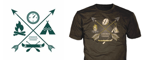 drawing of boy scout t-shirt design showing final boy scout t-shirt with tents and arrows