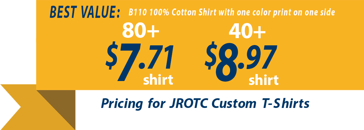 JROTC t-shirt pricing as low as $6.72 each