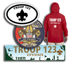 Custom Boy Scout Troop Gear bumper stickers caps patches