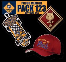 Custom Cub Scout Pack Gear bumper stickers caps patches