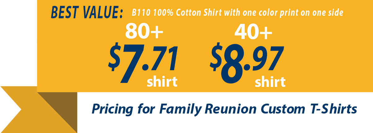 Custom family reunion t-shirt pricing as low as $6.72 each