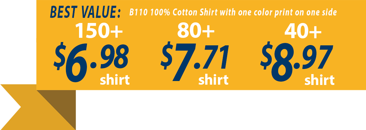 Custom t-shirt pricing as low as $6.72 each