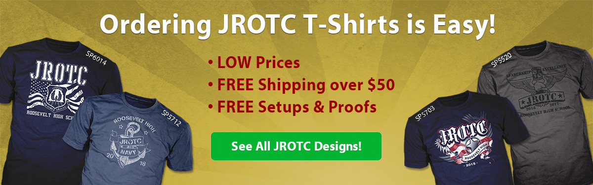 JROTC custom t-shirts ordering is easy • low prices • free shipping