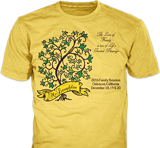 Family Reunion t-shirt design idea SP2741 on yellow t-shirts