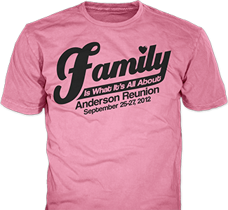 Family Reunion t-shirt design idea SP379 on pink t-shirts