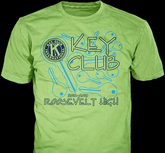 Key Club t-shirt design idea SP3458 on yellow t-shirts