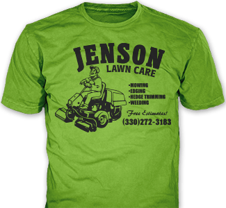 Lawn Care t-shirt design idea SP143 on green t-shirt