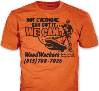 Lawn Care t-shirt design idea SP221 on orange t-shirts