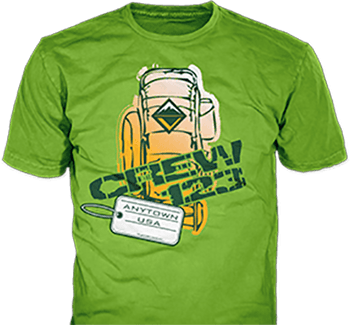 Venturing crew t-shirt design idea SP2093 B110 on green t-shirts