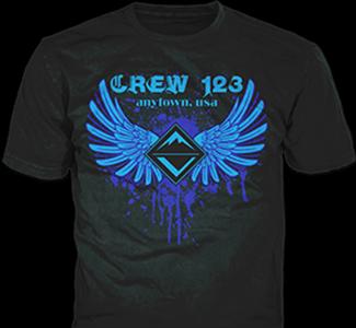 Venturing Crew t-shirt design idea SP3893 B110 on black t-shirts