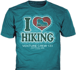 Venturing Crew t-shirt design idea SP5472 B110 on teal t-shirts