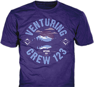 Venturing Crew t-shirt design idea SP5477 B110 on purple t-shirts
