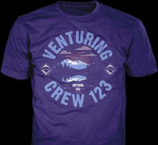 Venturing Crew t-shirt design idea SP5477 B110 on purple t-shirts