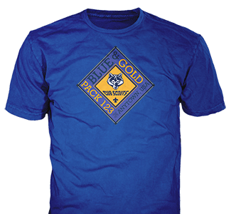 Cub Scout Blue and Gold t-shirt design idea SP2562 on royal blue t-shirts