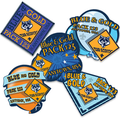 Blue and Gold custom embroidered patch examples