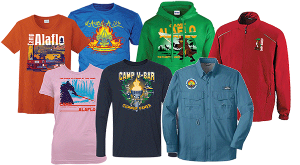 summer camp t-shirts and apparel