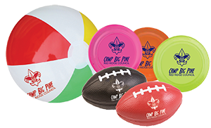 custom printed frisbees and balls for boy scout camps