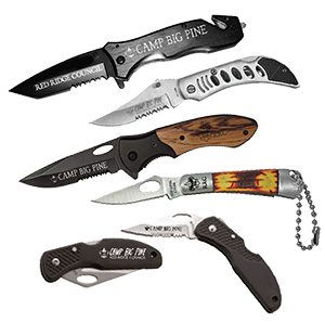 knives with camp logo for boy scout camps