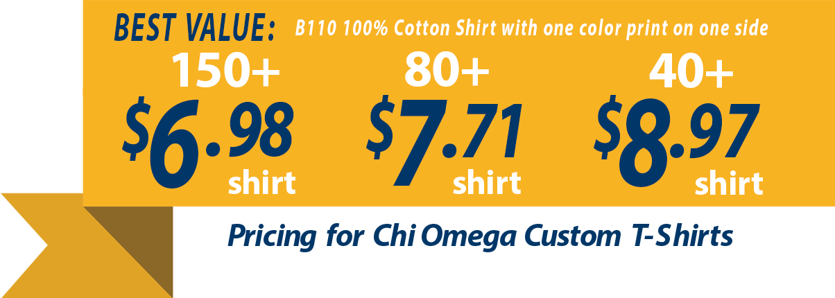 Custom t-shirts for Chi Omega Chapters banner showing t-shirts as low as 6.98