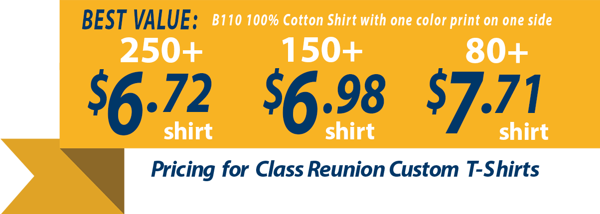 custom t shirts for class reunion students banner showing t shirts as low as - Class Reunion T Shirt Design Ideas