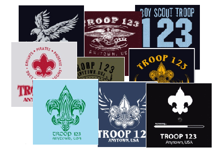 Neckerchief screen printed designs for boy scouts