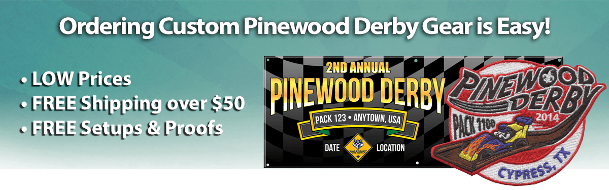 Pinewood Derby Gear Low Prices Banner