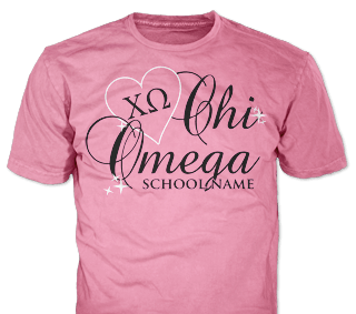 Chi Omega t-shirt design idea SP6278 on safety pink