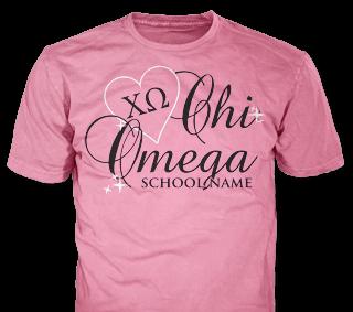 Chi Omega t-shirt design idea SP6278 on safety pink