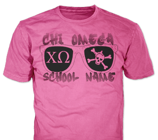 Chi Omega t-shirt design idea SP6271 on azalea blue t-shirts