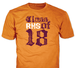 Class of 2018 t-shirt design idea SP2388 on Safety Orange t-shirts