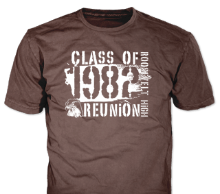 Class Reunion stock design SP5195 on olive green t-shirts