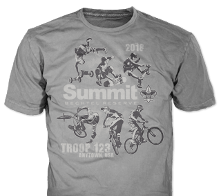 Summit Bechtel t-shirt design idea SP5157 on blue t-shirts