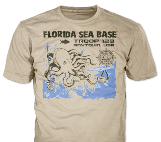 Florida Sea Base High Adventure Custom T-Shirt Design SP4999 on Tan Color