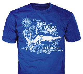 Florida Sea Base High Adventure Custom T-Shirt Design SP3770 on Royal Blue Color