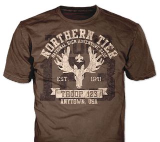 Northern Tier Adventure Custom T-shirt Design SP5316 on Brown Color