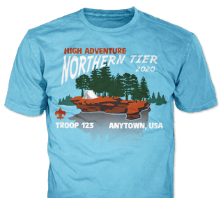 Northern Tier Adventure Custom T-shirt Design SP5356 on Sky Blue Color
