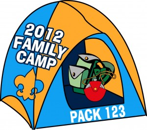 Family Camping Embroidered Patch Design Idea