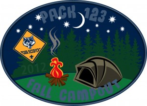 Fall Campout Embroidered Patch Design Idea