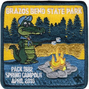 Alligator Roasting Marshmallows Embroidered Patch Design Idea